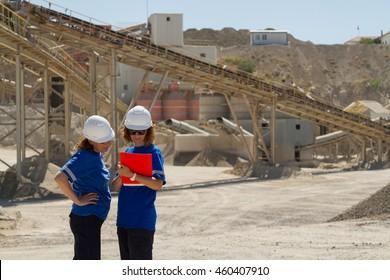 women engineer at open mine