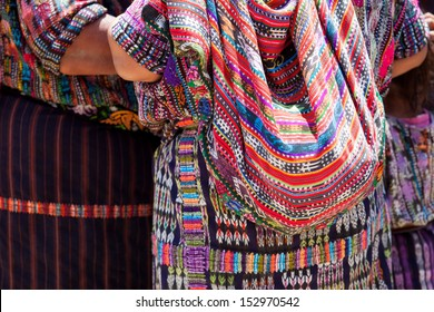 Women in ethnic traditional Latin American dresses. Travel background for Guatemala.