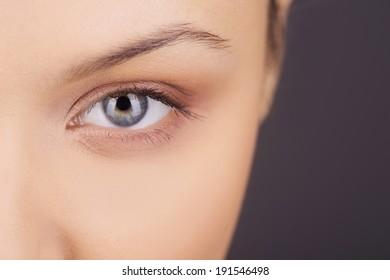 Women eye. Beauty closeup eye of girl