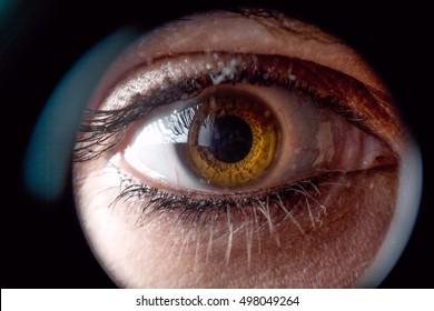 Women eye looking through a spyhole
