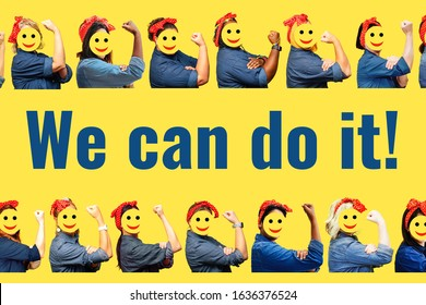 Women with faces covered by smile emojis with a clenched fist rolling up their sleeves on yellow background. We can do it.