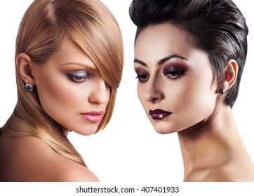 Women faces with perfect skin and make up