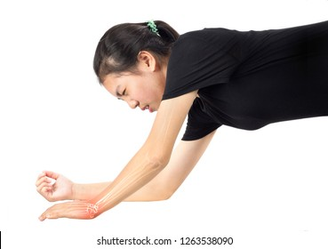 Women fall to the ground feel pain in the wrist , wrist bones injury
