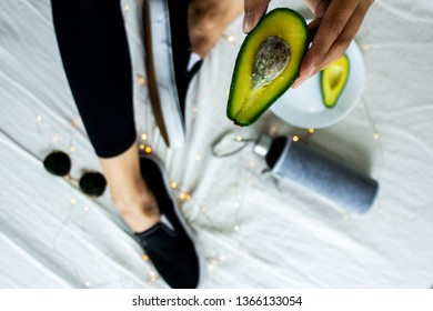 Women fashion flay lay avocado runners from above