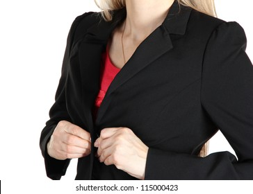 Women fastening black classic jacket
