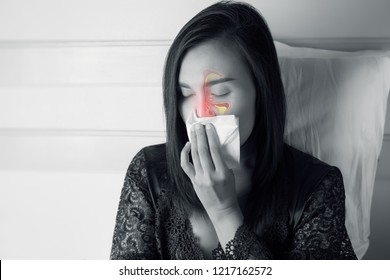 Women Feeling Unwell And Sinus. Dust allergies. Flu. People caught cold and allergy.