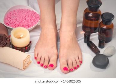 Women feet care concept. Spa concept background.