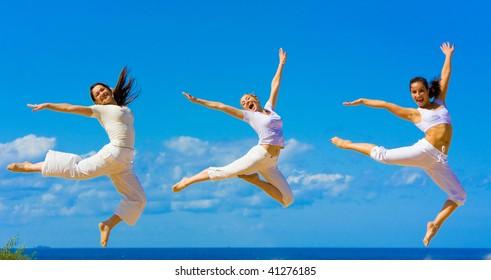 women flying