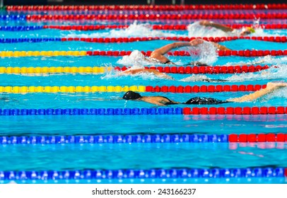 Women free style swimming race on swimming pool