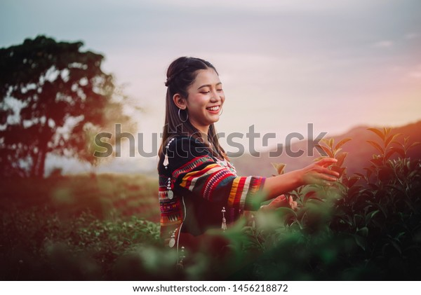 Women Friend Tea Farm Chiang Rai Stock Photo Edit Now 1456218872