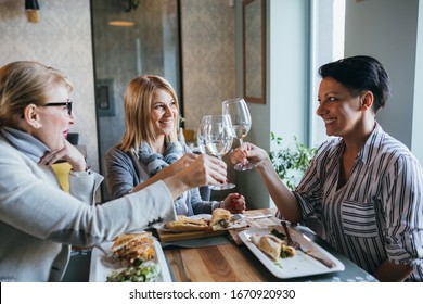 women friends making a toast or cheers with wine in restaurant