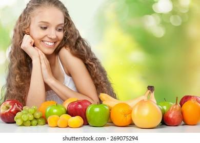 Women, Fruit, Dieting.
