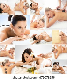 Women getting spa treatment. Health, medicine and recreation collage. Healing and massaging concept.