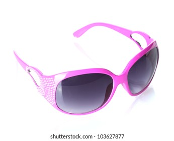 Women glamorous pink sunglasses isolated on white