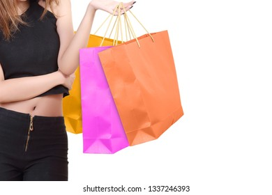women go to shopping and holding her bags