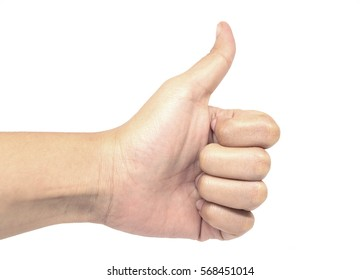 Women hand giving thumbs up isolated on white background