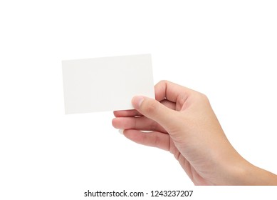 Women hand hold white card,business card,identity card with clear background