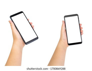 Women hand holding blank white screen mobile phone. isolated on white background