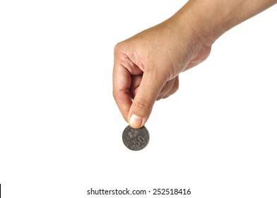 Women Hand Holding Coin with White Background, Focus on Coin