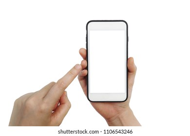 Women hand holding mobile smartphone empty touch screen isolated on white background.Blank free word, Copy space for text.Use for your advertisement design or mock up text.Business,Technology Concept.