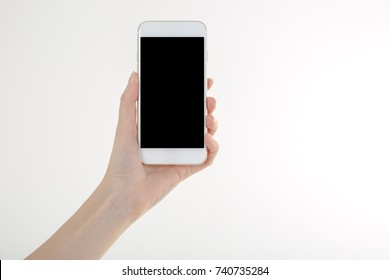 Women hand holding smartphone with blank screen