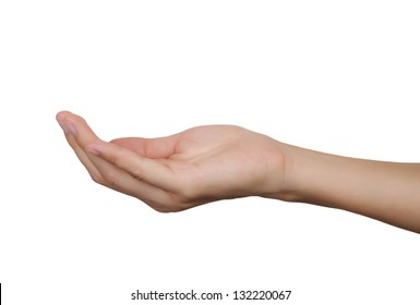 women hand isolated on a white background.