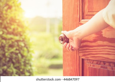 Women hand open door knob or opening the door. & Open Door Images Stock Photos u0026 Vectors | Shutterstock