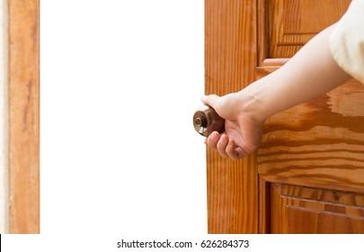 Women hand open door knob or opening the door isolated on white.