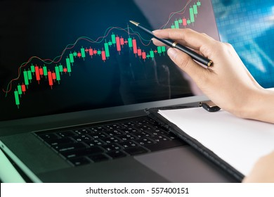 Women hand pointing to Modern laptop screen with Candlestick chart.Stock market Concept