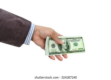 Women hand sent money the concept of business.with clipping path.