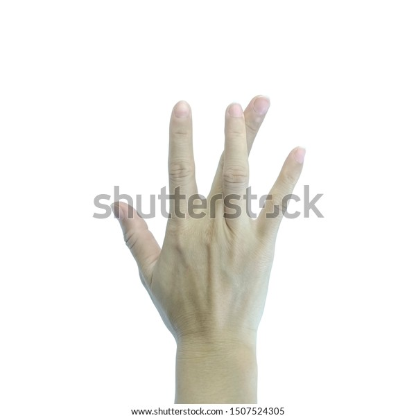 Women Hand Showing Ring Finger Crossed People Stock Image 1507524305