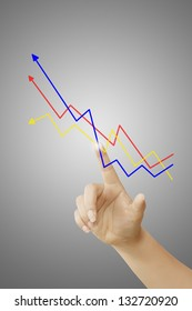 women hand touching graph on gray background