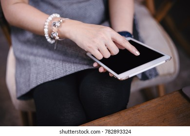 Women hand working business in coffee shop with  notebook