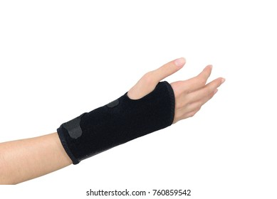 women hand with wrist splint for right hand isolated on white background with path