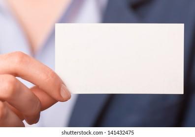 women handing a blank business card