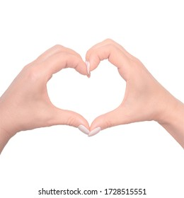 women hands folded in a heart isolated on white background