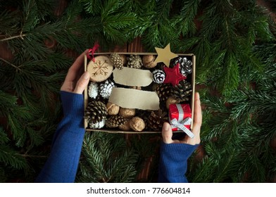 Women hands holding Christmas decorations in the box. Christmas gift concept. Copy space on paper scraps. Green pine branches background.