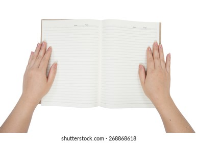 Women hands with open blank notebook isolated on white background