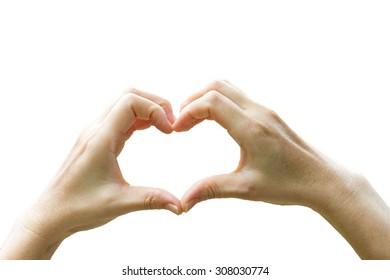 women hands in shape of heart on white background