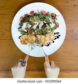 women have chicken salad
