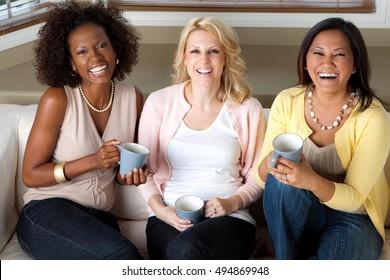 Women having coffee and talking.