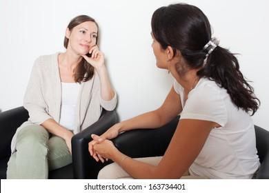 women having fun talking