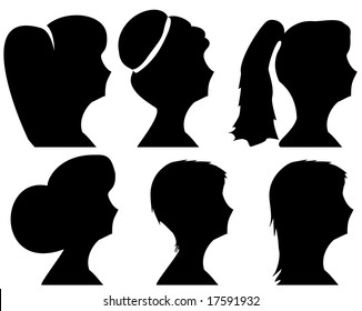 Women headsilhouettes with different hairstyles