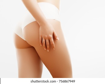 Women health and intimate hygiene. Beautiful Woman's body with smooth soft skin. Epilation Concepts