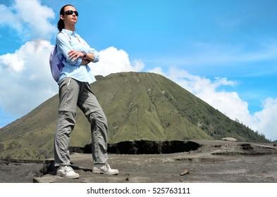 Women hike in Bromo volcano
