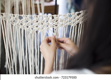 Women Hobby knitting handmade macrame.