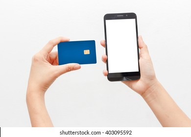 Women Holding Credit Card and smartphone on  white background. Concept e-commerce