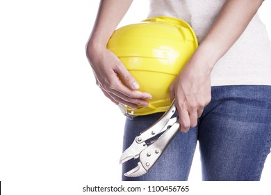 Women holding helmet and wrench in hand. Craftsman tool