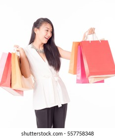 women holding shopping bags in her hand with a copy space,isolated on white background