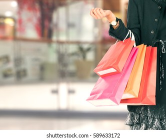 women holding shopping bags in her hand with a copy space